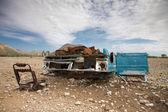 Vieille voiture s'est écrasée dans les montagnes du désert — Photo