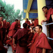 Stock Photo: Smiling Buddhists waiting to see Dalai Lamin India