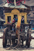 Ancient strange transport in Nepal — Stock Photo