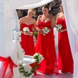 Three bridesmaids at a wedding in Greece — Stock Photo