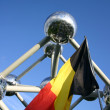 Atomium and belgian flag — Stock Photo