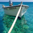 Little fishers boat on the aegean sea — Stock Photo