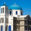 Gorgeous blue and white orthodox  church under reconstruction — Stock Photo