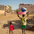 kids walking in the street of mopti — Stock Photo