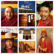 Composition of various portraits of Tibetan monks — Stock Photo