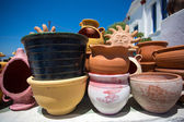 Various ceramic pots and other objects — Stock Photo