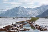 Beautiful panorama of the mountains and river . — Stock Photo