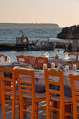Oia fisher port restaurant Santorini — Stock Photo