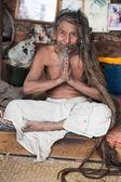 Sadhu - holy man praying in Kathmandu — Stock Photo