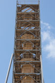 Metallic structure around an ancient column in Rethymnon — Stock Photo