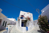 Typical traditional greek white and blue houses — Stock Photo