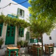Stock Photo: Typical Greek terrace at Folegandros