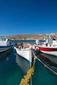 Little fishers boats on the aegean sea — Foto Stock
