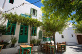 Typical Greek terrace at Folegandros — Stock Photo