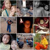 Kompozycja różnych osób mieszkających i pracujących w laosie — Zdjęcie stockowe