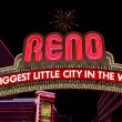 Постер, плакат: Reno made of night light neons letters at night