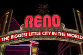 Reno made of night light neons letters at night — Stock Photo