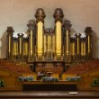 Stock Photo: Church organ pipes and the Interior of the Mormon Tabernacle Tem