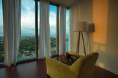 Interior of a furnished apartment with view on Miami Beach — Stock Photo