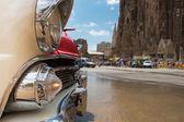Detalle del parachoques y la bombilla de una c vintage americana — Foto de Stock