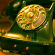 Stock Photo: Old vintage green phone from seventies