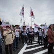 Trade unionists during a demonstration in Warsaw - Poland — Stock Photo
