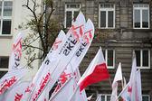 деталь солидарность флагов во время демонстрации в варшаве — Стоковое фото