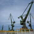Industrial cranes in Gdansk shipyards — Stock Photo