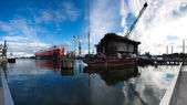 Docking oil rig at the Gdansk Shipyard under construction in Gda — Stock Photo
