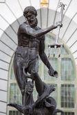 Neptune, bronze statue of the Roman God of the Sea — Stock Photo