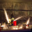 Stock Photo: Welders in action with bright sparks during opening show of