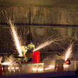 Welders in action with bright sparks during opening show of — Stock Photo #33545493
