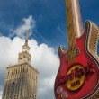 Hard Rock Cafe logo and the Palace of Culture — Stock Photo