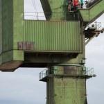 Industrial cranes in Gdansk shipyards — Stock Photo