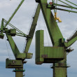 Foto Stock: Industrial cranes in Gdansk shipyards