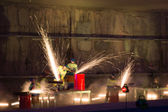 Welders in action with bright sparks during the opening show of — Stock Photo