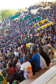 Stadium in Bamako filled with many children looking at a soccer — Stock Photo
