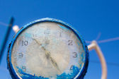 Close up of the blue clock. — Stock Photo