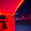 Red interior of a mutant car with red shark led light line at ni — Stock Photo