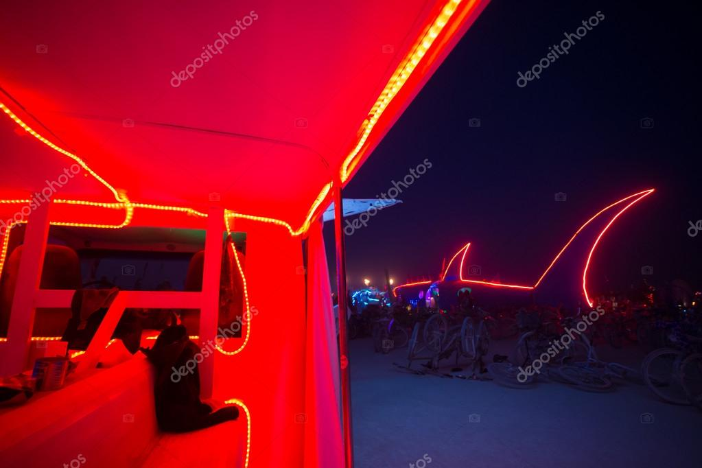 Red Interior Of A Mutant Car With Red Shark Led Light Line At Ni Stock Editorial Photo