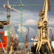 Huge ships in dry dock with cranes, Gdansk — Stock Photo #35783725