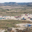 Panoramic view of the Nowhere Festival campsite in a beautiful v — Stock Photo