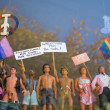 Gays toys with anti homophobia messages — Photo