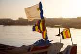 Flags on a fisher boat in Saint-Louis, Senegal — Stock Photo