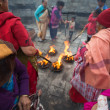 Group of women burning sticks in Temple. Kathmandu — Stock Photo