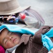 Stock Photo: Young Tibetchild sleeping peacefully