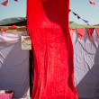 Stock Photo: Red fabric covering entrance of tent