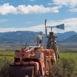 Skeleton sitting on a vintage tractor in Utah with mountains — Foto Stock