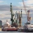Huge ships with cranes in Gdansk Shipyard — Stock Photo #35800521