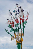 Tibetan prayer flags weaving in the wind — Stok fotoğraf